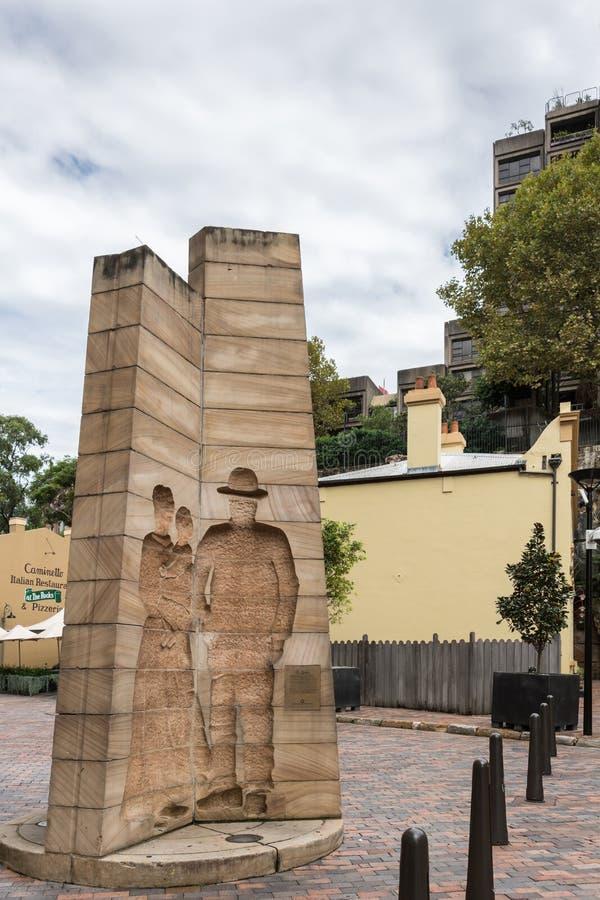 Eerste Indrukkenmonument bij Playfair-Straat, Sydney Australia stock foto's