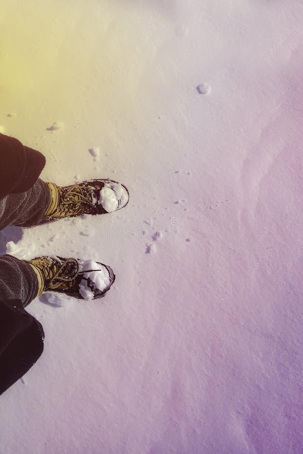 Eerste keer in de sneeuw van Nieuw Zeeland stock fotografie