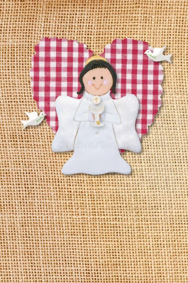 eerste kerkgemeenschapkaart, engel stock foto's