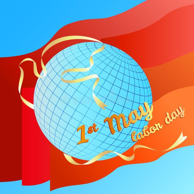 eerste kunnen dag vectorillustratie werken Bol en silhouetduif witte banner op rode vlaggenachtergrond stock illustratie