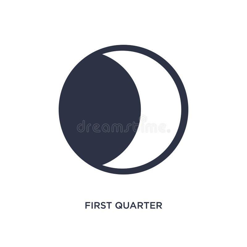 eerste kwartaalpictogram op witte achtergrond Eenvoudige elementenillustratie van Weerconcept royalty-vrije illustratie