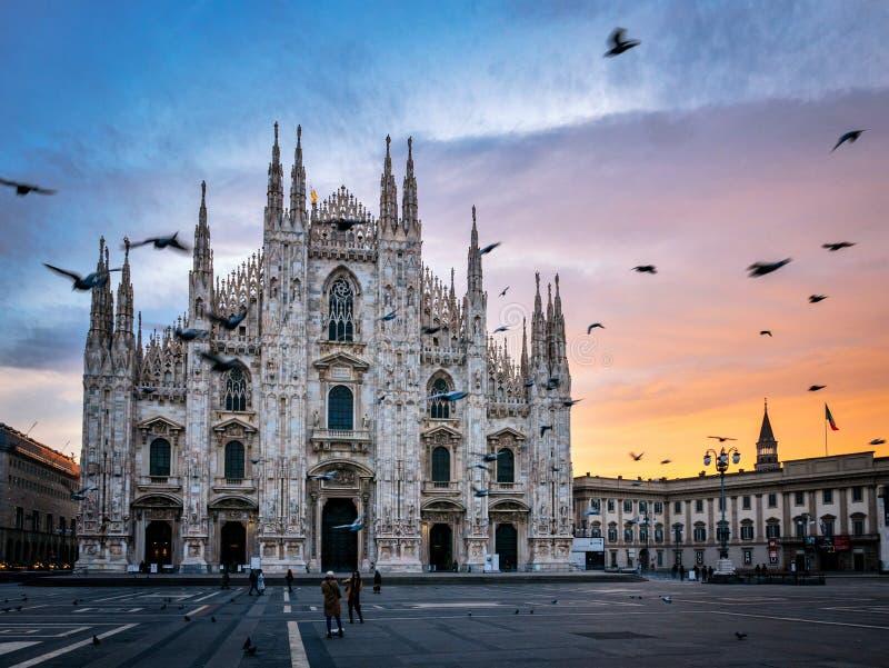 Eerste lichten op Duomo royalty-vrije stock foto's
