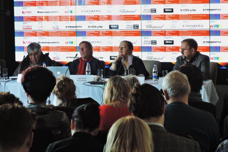 Eerste officiële persconferentie van Internationaal de Filmfestival van 41ste Moskou stock fotografie