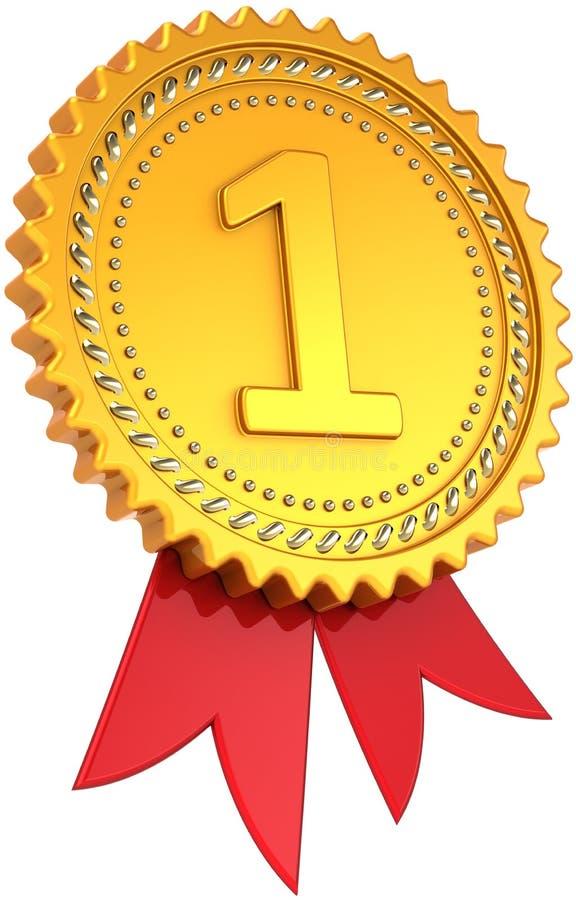 Eerste plaats gouden toekenning met rood lint royalty-vrije illustratie
