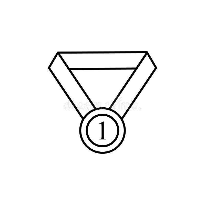 Eerste plaatsmedaille Element van onderwijspictogram voor mobiel concept en Web apps De dunne medaille van de lijn eerste plaats  stock illustratie