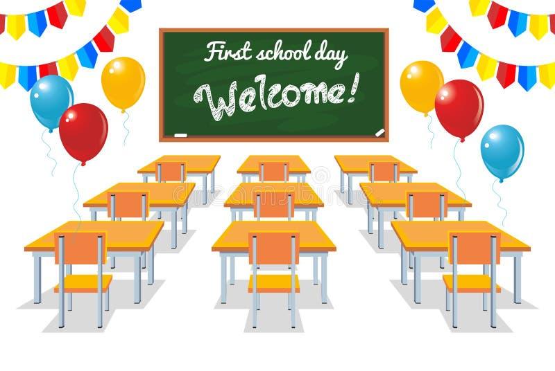 Eerste schooldag stock illustratie