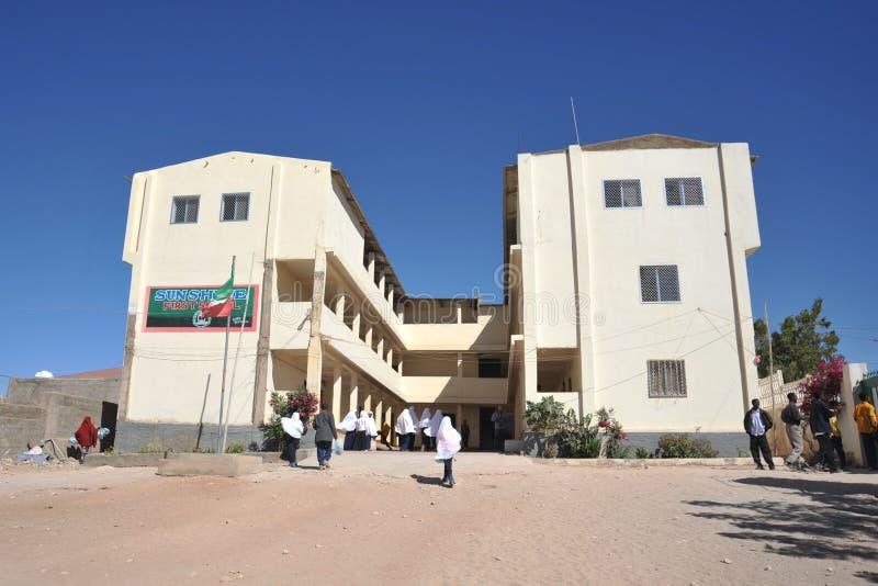 Eerste schoolzonneschijn van Hargeysa. stock afbeelding