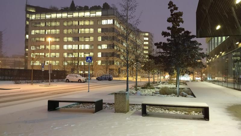 Eerste sneeuw in December 2018 royalty-vrije stock foto