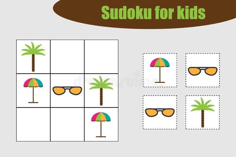 Eerste Sudoku-spel met de beelden van het de zomerstrand voor kinderen, gemakkelijk niveau, onderwijsspel voor jonge geitjes, peu royalty-vrije illustratie