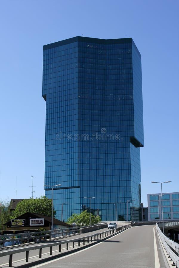 Eerste Toren in het Zwitserse financiëncentrum metropolitaans Zürich, Zwitserland stock fotografie