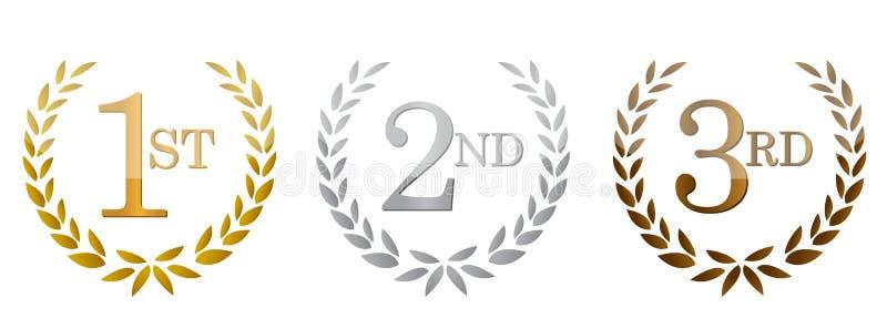 eerste; tweede; 3de toekennings gouden emblemen. royalty-vrije illustratie