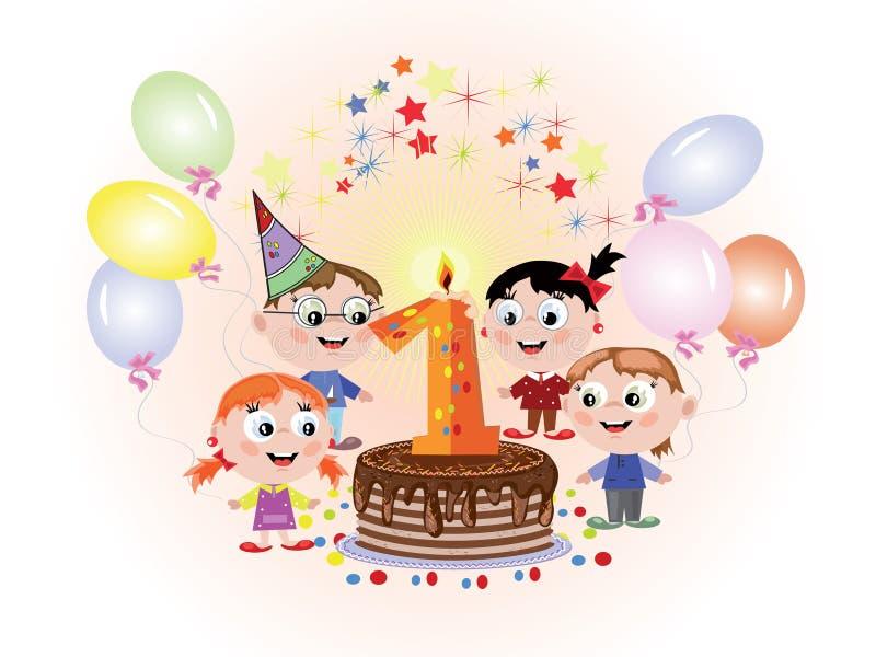 Eerste verjaardag, CMYK royalty-vrije illustratie