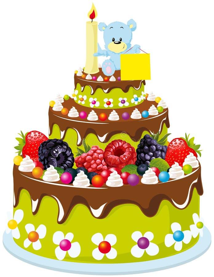 Eerste verjaardagscake vector illustratie