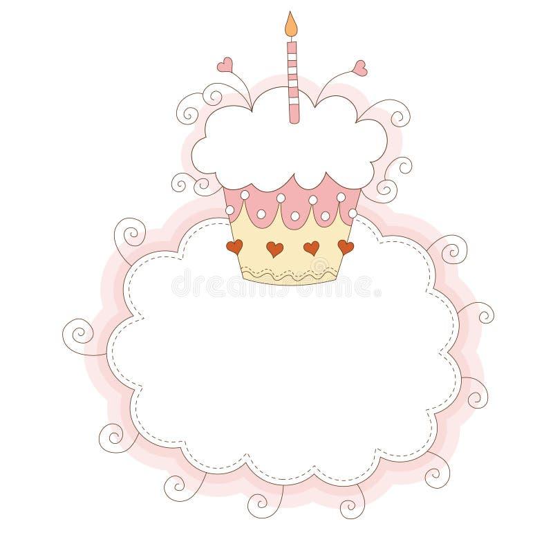 Eerste verjaardagskaart royalty-vrije illustratie