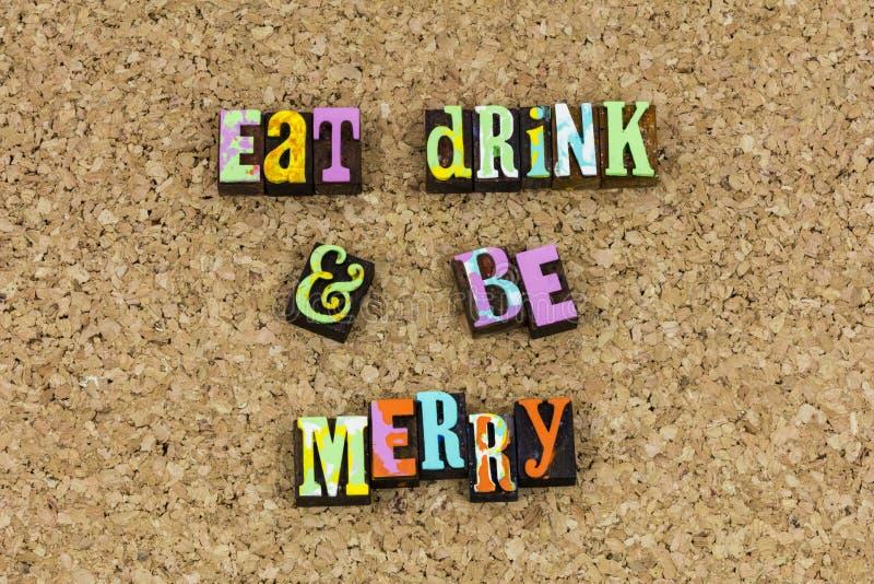 Eet drank is vrolijk vermaak royalty-vrije stock foto