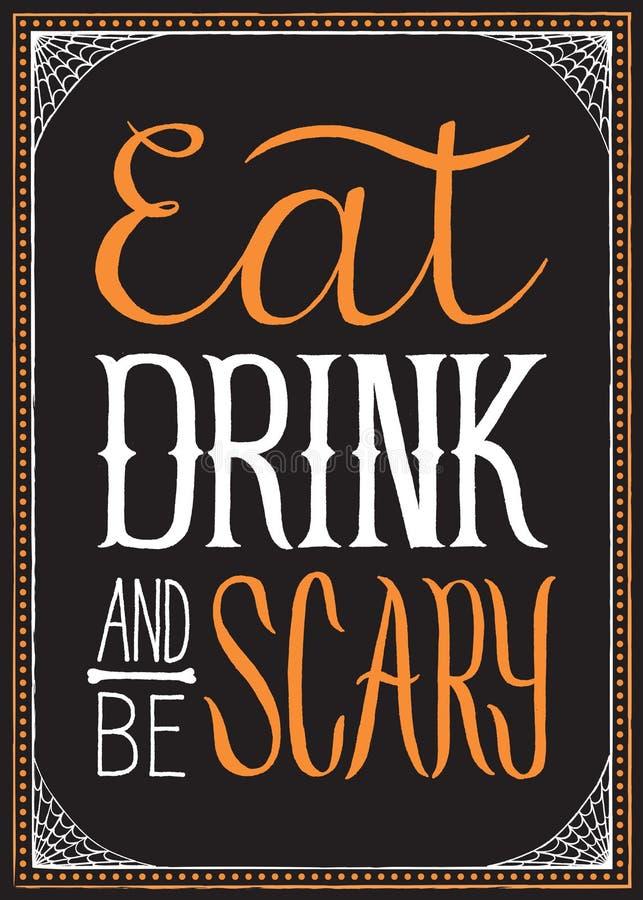 Eet, drink en ben Enge Halloween-Achtergrond royalty-vrije illustratie