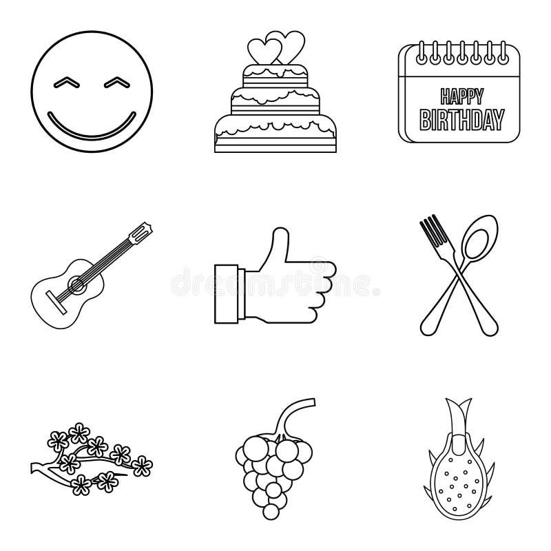 Eet geplaatste weg pictogrammen, schets stijl vector illustratie