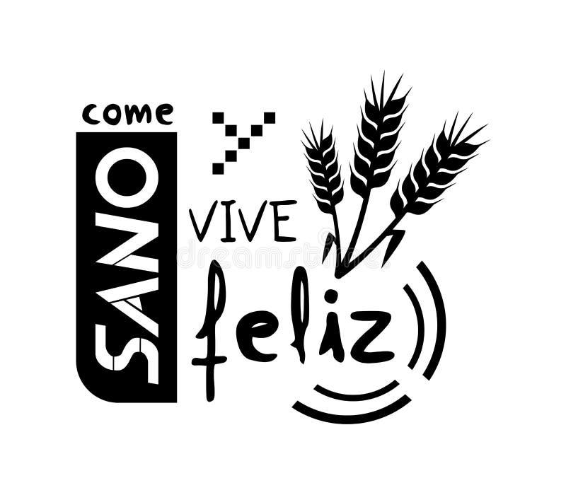 Eet gezond en levend gelukkig bericht in Spaanse taal stock illustratie
