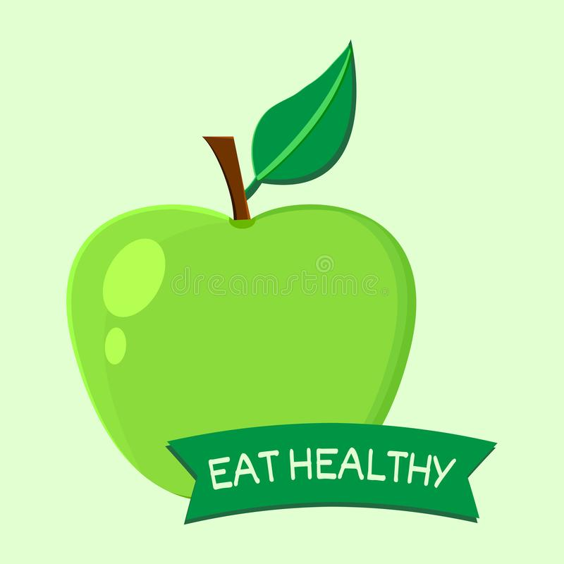 Eet gezond Vruchten Apple Vector illustratie stock illustratie