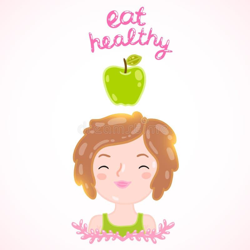 Eet gezonde Dieet vectorillustratie royalty-vrije illustratie