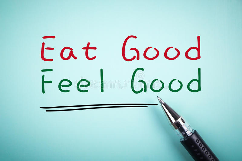 Eet goed voelen goed royalty-vrije stock afbeelding