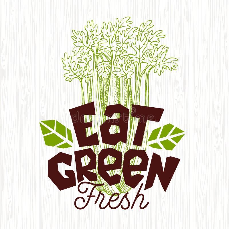 Eet groen embleem, etiket van het landbouwbedrijf het verse voedsel, houten raads vectorillustratie royalty-vrije illustratie