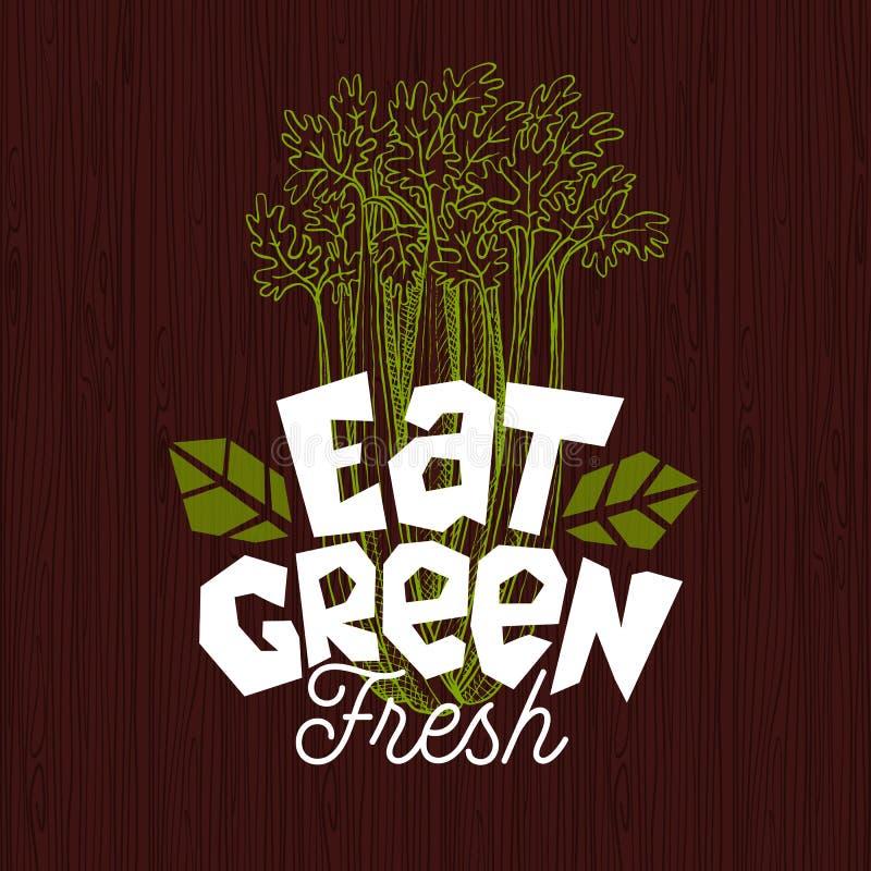 Eet groen embleem, etiket van het landbouwbedrijf het verse voedsel, houten raads vectorillustratie stock illustratie