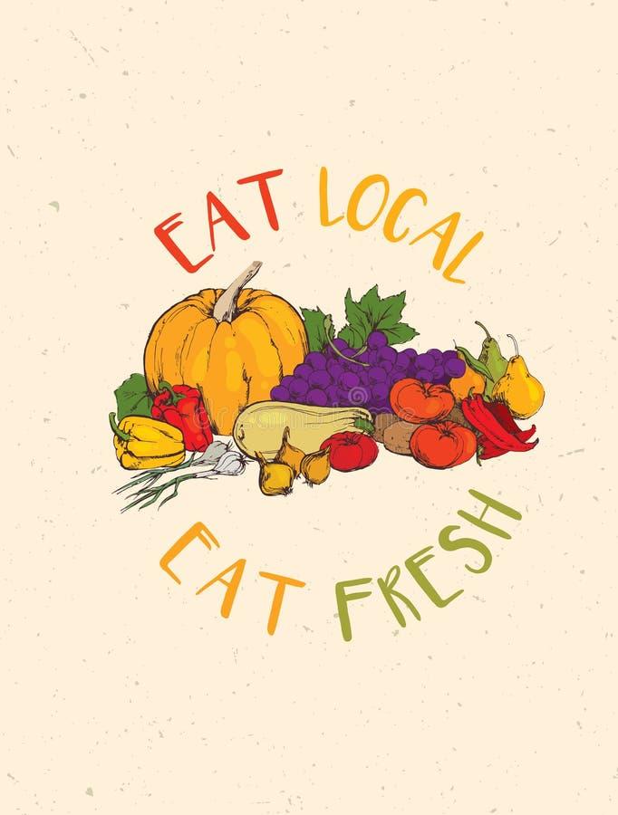 Eet Lokaal, eet Vers Gezond het Landbouwbedrijf Vectorconcept van Voedseleco op Rusty Background stock illustratie