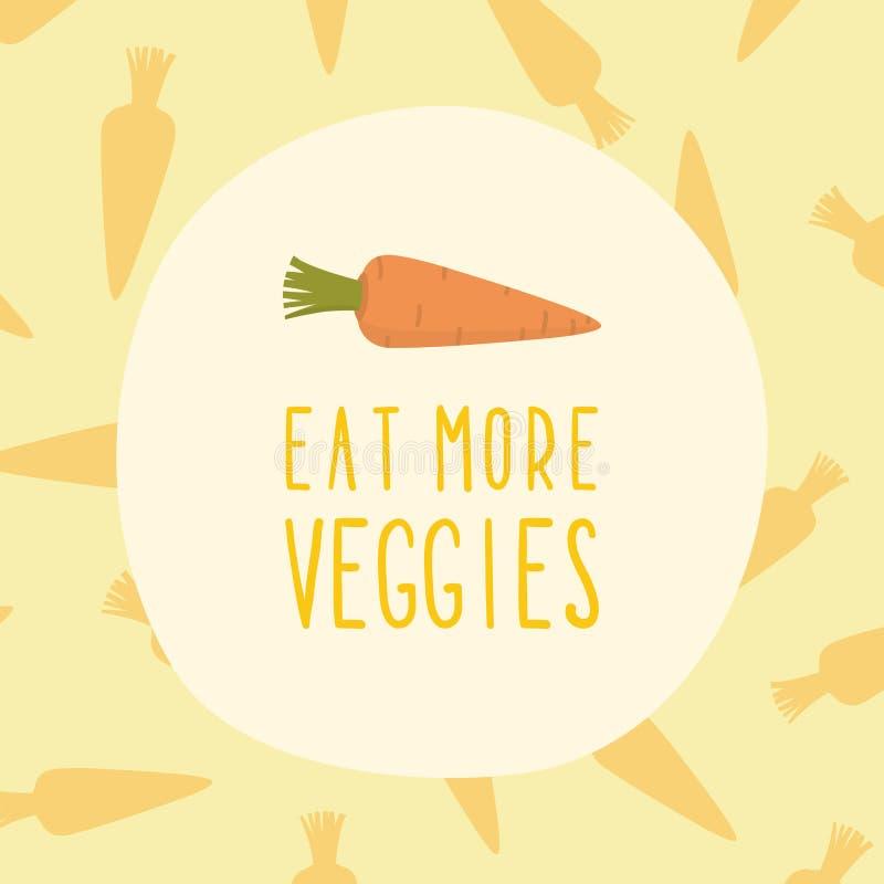 Eet meer veggieskaart met wortel royalty-vrije illustratie