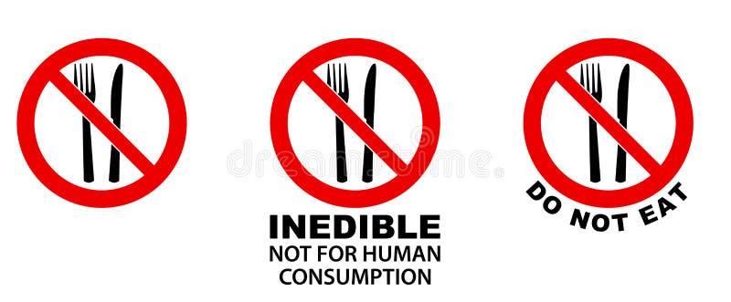 Eet niet, oneetbaar, teken Vork en mes in rode gekruiste cirkel stock illustratie