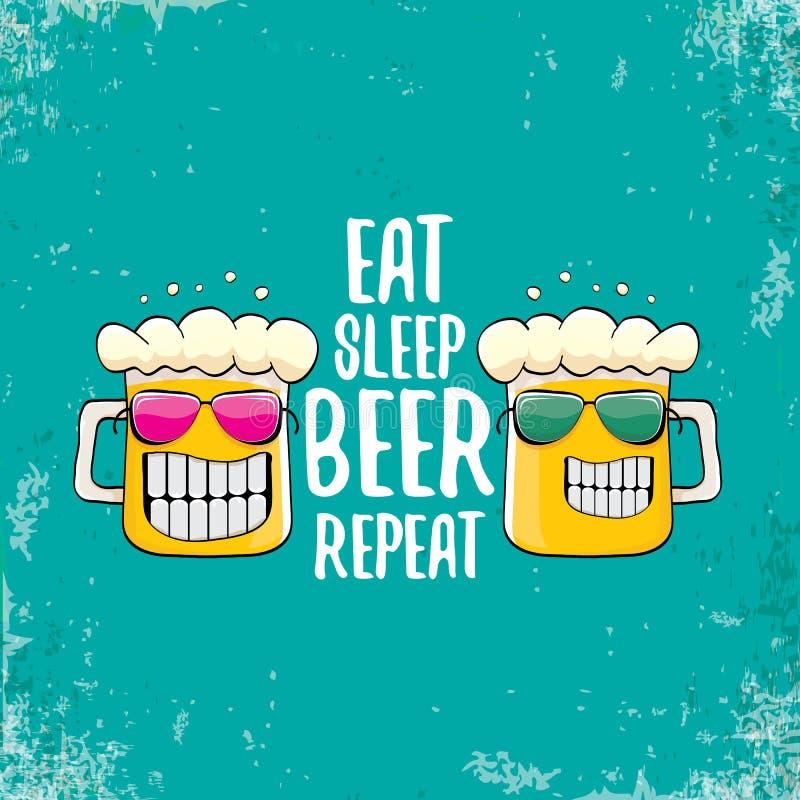 Eet slaapbier herhalen vectorconceptenillustratie of de zomeraffiche vector funky bierkarakter met grappige slogan voor stock illustratie