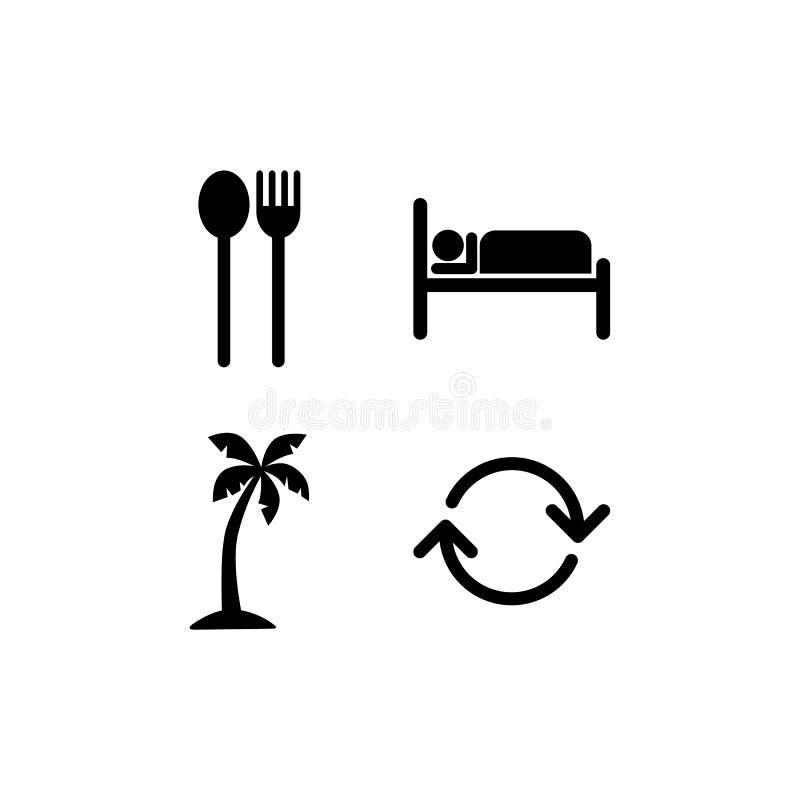 Eet slaapstrand herhalen pictogramteken vector illustratie