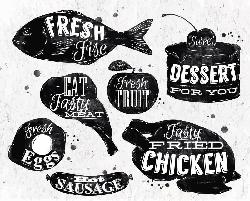 Eet symbool uitstekende van letters voorziende eieren, appel, kip vector illustratie