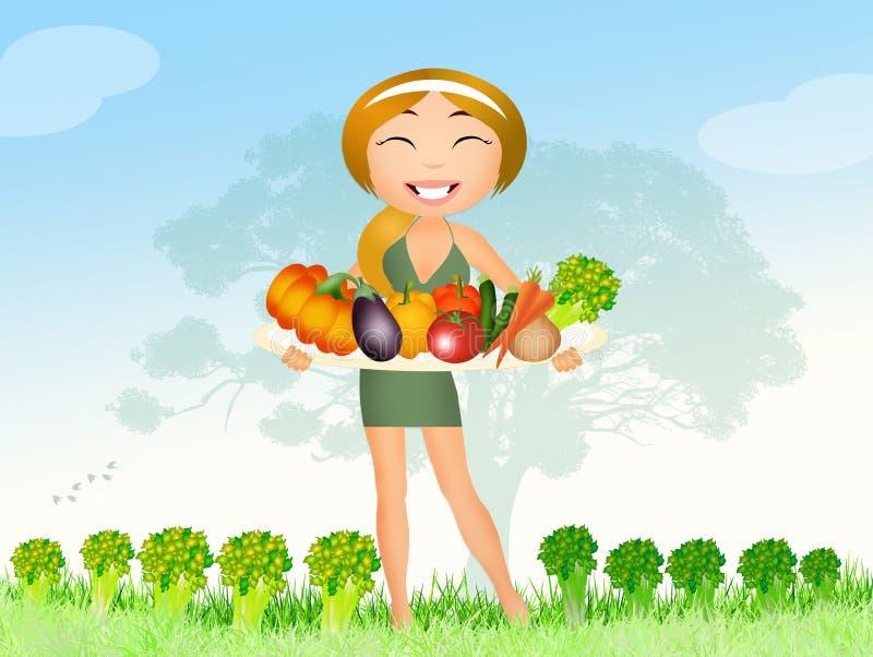 Download Eet veganist stock illustratie. Illustratie bestaande uit gezond - 54086465