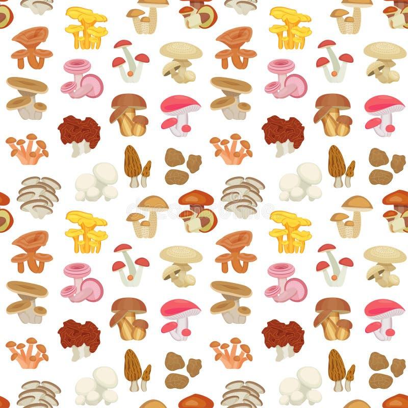 Eetbaar paddestoel naadloos patroon Vlakke Pictogrammen vector illustratie