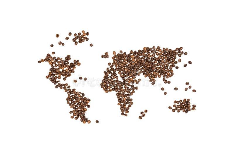 Eetbare die wereldkaart van koffiebonen wordt gemaakt stock afbeelding