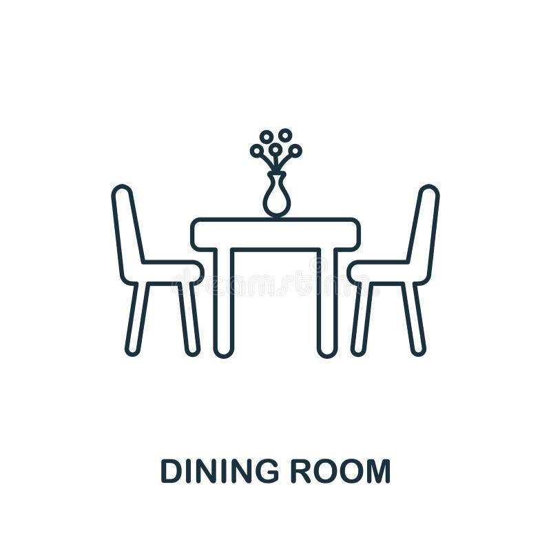 Eetkamerpictogram Eenvoudige elementenillustratie Het pictogramontwerp van het eetkameroverzicht van onroerende goedereninzamelin stock illustratie
