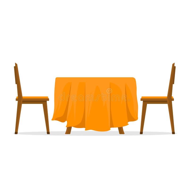 Eettafel en stoelen voor twee mensen Vectorillustratie in vlakke die stijl op witte achtergrond wordt geïsoleerd royalty-vrije illustratie