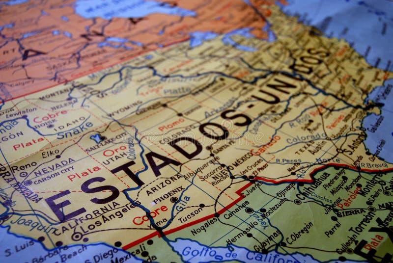 EEUU老地图  图库摄影