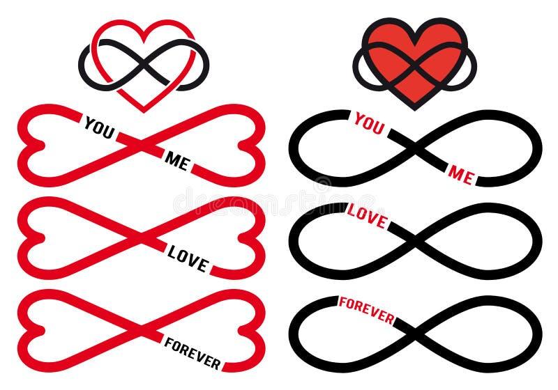 Eeuwigdurende liefde, rode oneindigheidsharten, vectorreeks royalty-vrije illustratie