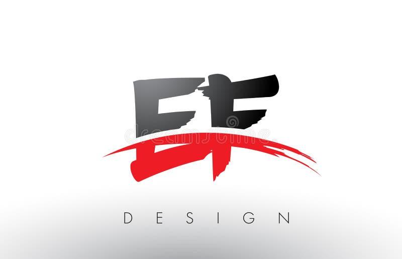 EF borste Logo Letters för E F med den röda och svarta Swooshborsteframdelen stock illustrationer