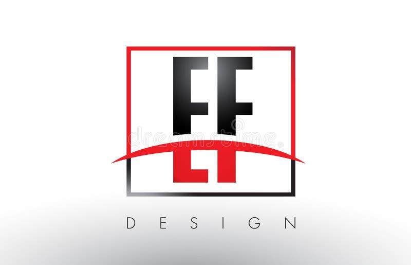 EF E F loga listy z rewolucjonistką, czerni Swoosh i kolory i royalty ilustracja