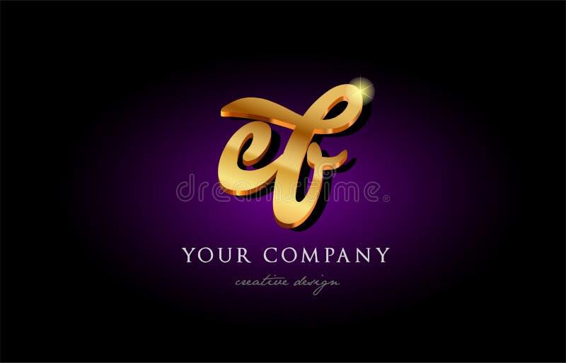 ef för alfabetbokstav för e f 3d guld- guld- mummel för design för symbol för logo för metall royaltyfri illustrationer