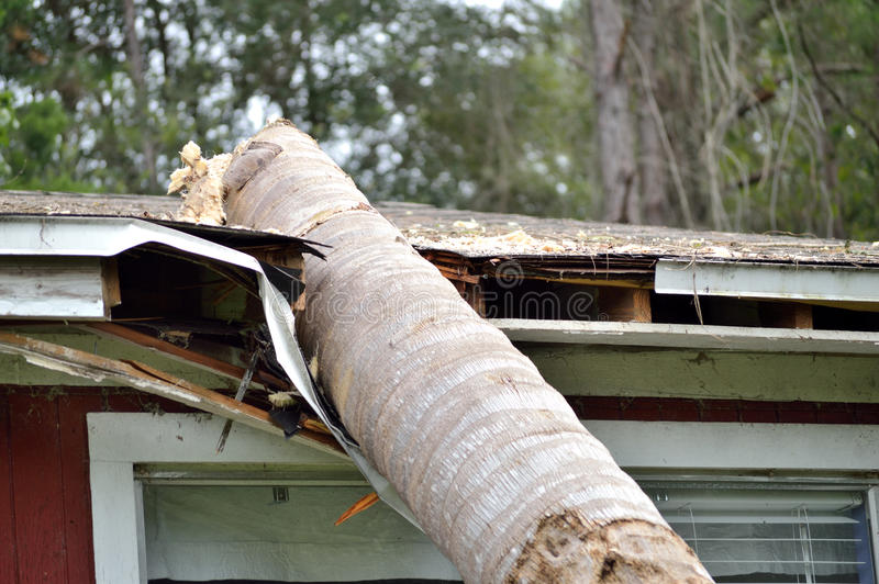 EF0 tornado damage on house roof royalty free stock photography
