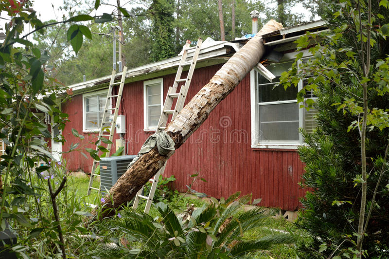 Ef0 Tornado Damage On House Roof Stock Image Image Of