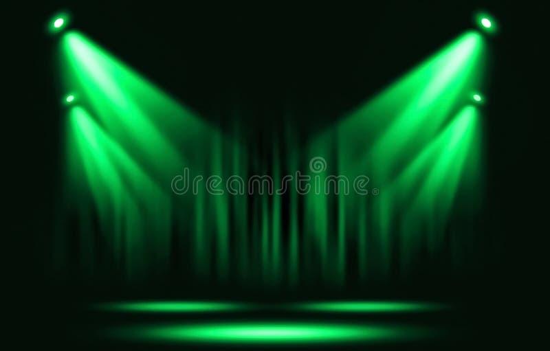 Efectúe las luces Proyector verde con seguro con la oscuridad stock de ilustración