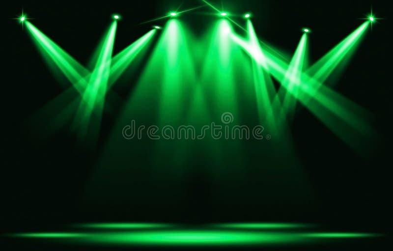 Efectúe las luces Varios proyectores en la oscuridad Huelga verde del proyector con la oscuridad libre illustration