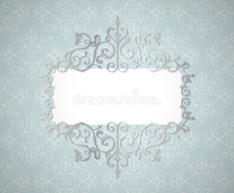 Efect тени whith рамки свирли вектора винтажное серебряное Граница Lase Шаблон приглашения свадьбы иллюстрация вектора