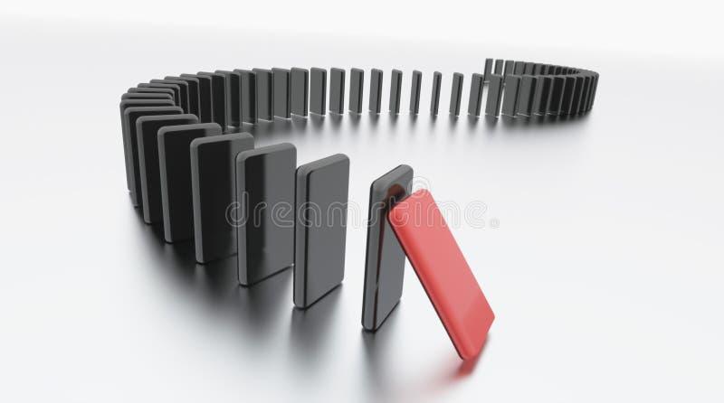 Efect del dominó rendido en blanco libre illustration