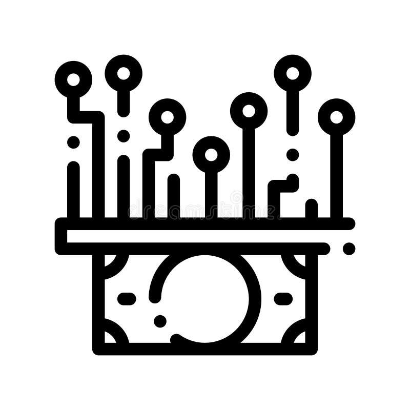 Efectivo Chip Vector Thin Line Icon del dinero electrónico ilustración del vector